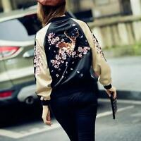 Chic Women Embroidered Bomber Jacket Baseball Floral Loose Coat Fashion Outwear