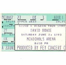 David Bowie Concert Ticket Stub Denver 6/2/90 McNichols Sound + Vision Tour Rare