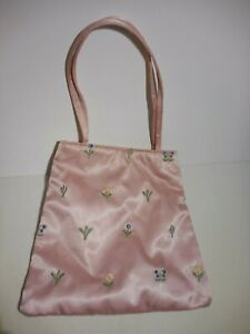 Valerie Stevens Pink Satin Purse Flower Pattern Handle
