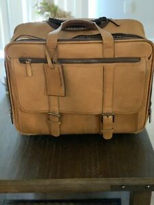 korchmar leather rolling briefcase