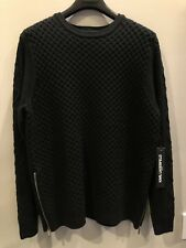 KARL LAGERFELD PARIS ITALY BLACK MEN'S SWEATER SIZE L WITH SIDE ZIPPERS UNIQUE!!