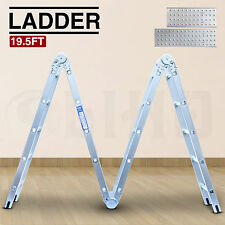 19.5FT 4X5 Multi Purpose Folding Aluminum Ladder Multi Function Ladder Silver