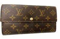 Auth Louis Vuitton Monogram Browns Portefeuille Sarah Long Wallet LV J-1006