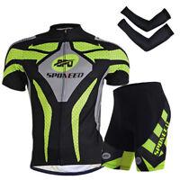 Cycling Clothing Short Sleeve Kits Men Bike Shirt Padded Shorts Arm Sleeve Green