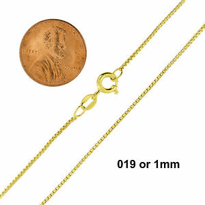14K Gold over 925 Sterling Silver Box Chain Necklace All Sizes