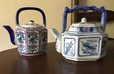 (2) Vintage Blue and White Small Teapots Tea Pot  Lot Of 2