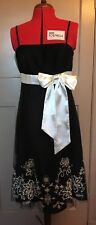 DEBUT black and white embroidered net lace side bow sash party dress UK 12 BNWOT