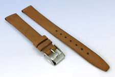 14mm Genuine LEATHER Watch BAND Smooth & Flat - Medium BROWN