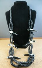 "Parrot Fetish 30"" Long Necklace #934 Vintage Black & White Wood Beaded Tropical"