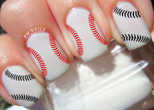 Baseball Stitches Nail Art Stickers Transfers Decals Set of 26