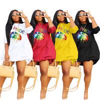 NEW Stylish Women's O Neck Lips Print Half Sleeves Party Short Dress Casual