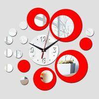Mirror 3D Wall Clock Home Watch Decoration Circle Designed Modern Acrylic Clocks