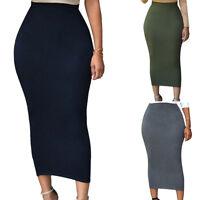 OL Women Midi Skirt High-waisted Sexy Slim Pencil Bandage Bodycon Plain Skirts