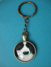 Border Collie Dog Keyring Puppy Metal Glass Handmade Bag Charm Bronze Chain Face