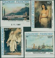 French Polynesia 1981 Sc#C187-C190,SG356-359 Paintings set imperf MNH