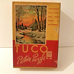"""Vtg Tuco Puzzle Wane of the Winter Day 204 Thick Pieces 12"""" x 16"""" Landscape USA"""
