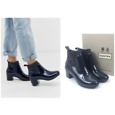 NEW Hunter Women Size 8 Refined Mid Heel Ankle Boots Rain Boots Navy Blue $185