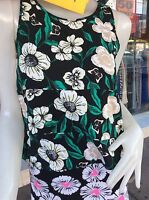 Women's Black Floral Butterfly Pattern Summer Top Blouse One S 8-10