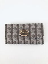 Guess Womens Brown Faux Leather Signature Logo Design Large Wallet Trifold