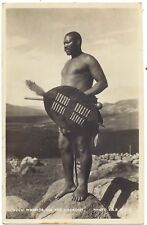 Africa Zulu Warrior on the lookout real photo postcard