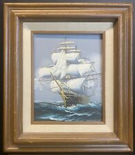 CLIPPER SHIP - Hewitt Jackson - Vintage Oil on Canvas Painting Sailing Nautical