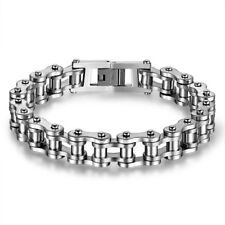 Mens Stainless Steel Bracelet Bangle Motorcycle Biker Chain Wristband Gold Black