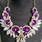 Vintage Women Rhinestone Crystal Flower Pendant Collar Bib Statement Necklace