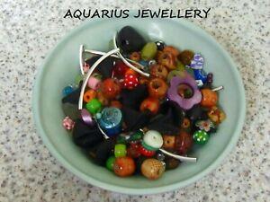 Beads random mix job lot  Glass/Wood/Acrylic/Metal jewellery making  100 g