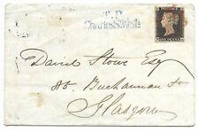 1d Penny Black Plate 4 lettered M/A - 4 margin on cover with glasgow back stamp
