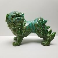 Vintage Foo Dog Figurine Statue Asian Chinoiserie Mid Century Drip Glaze Large