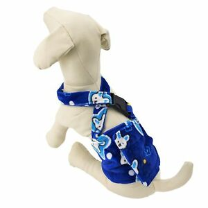 Dog Diaper Male BELLY BAND Reusable Washable With SUSPENDERS Fleece Blue BUNNY
