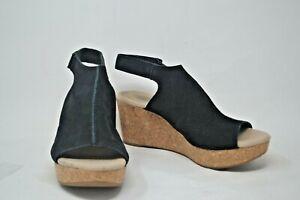 CLARKS Collection Black Suede Cork Wedge Sandals Open Toe Adjustable Strap 6.5