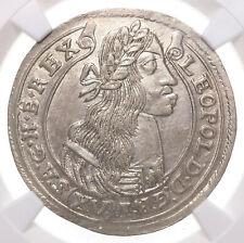 HUNGARY. Leopold I, Silver 15 Kreuzer, 1677-KB, NGC Unc Details, Sharply struck!