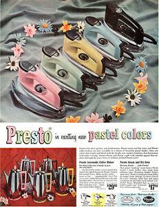 Presto In Pastel Colors STEAM & DRY IRON Automatic Coffee Maker 1955 MAGAZINE AD
