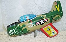 V 102 Navy Airplane Antique Tin Toy Marked Japan