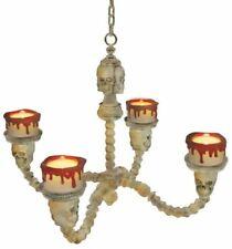 Chandelier Lighted Bone Color White Skull Candleholders Halloween Lights