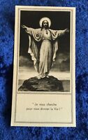 Vintage Antique Black White Jesus Sacred Heart Prayer Card Catholic Religious
