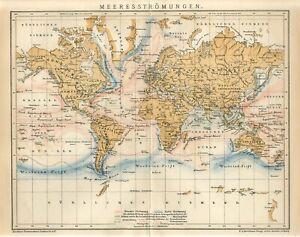 1895 WORLD OCEAN SEA MARINE CURRENTS Antique Map
