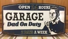 Garage Dad On Duty Metal Pump Petroleum Motor Oil Texaco Mobil Can Garage Wall