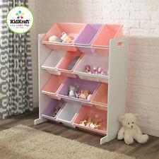 Kidkraft Sort It & Store It Bin Unit in Pastel | Kids Wooden Toy Box Unit
