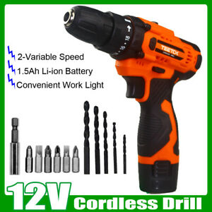 Cordless Drill Power Drill Electric Screwdriver Drill Set 2 Variable Speed 12V