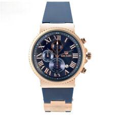 Megir reloj dorado de hombre cronográfo completo día correa de silicona azul