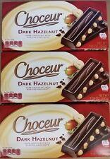 3 X Choceur German Dark Chocolate & Roasted Hazelnut Bars.3 Pack,1/2 lb Bars