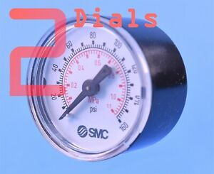 """2 (Two) SMC Pneumatic Gages 1.5"""" Dial 160 PSI 1/8"""" NPT P/N: 4274777"""