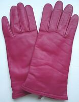 Ladies Fownes Cashmere Lined Genuine Leather Gloves, Medium, Pink