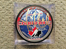VINCENT LECAVALIER SIGNED TEAM CANADA PUCK COA CENTRE ICE AUTOGRAPHS