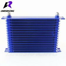 15 Row AN10 Engine Transmission Trust 7/8″ UNF14 Oil Cooler Kit Blue Fits Nissan