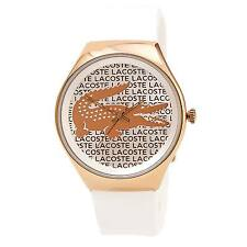 Lacoste 2000809 Women's Silver & Rose Gold Dial White Strap Watch