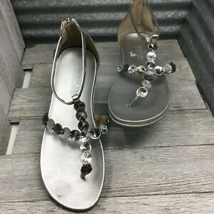 Kenneth Cole Reaction Sandal Slim Key T Strap Rhinestone Zip Up Comfort Size 8