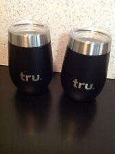 Set of 2 Tru Blu Stainless Steel Stemless Wine Tumbler Glass 8 oz Black